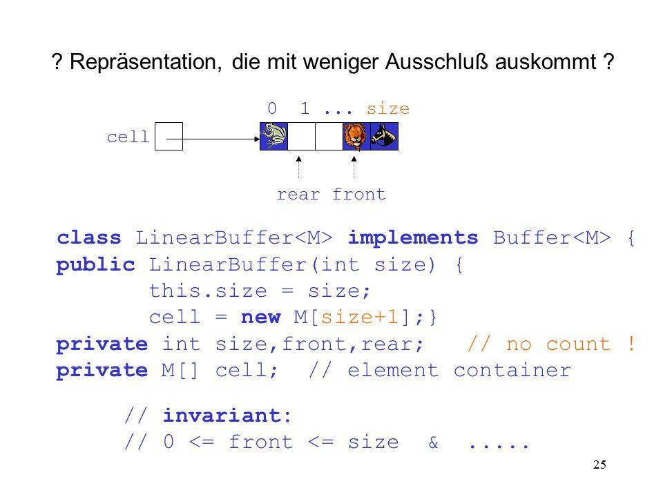25 ? Repräsentation, die mit weniger Ausschluß auskommt ? class LinearBuffer implements Buffer { public LinearBuffer(int size) { this.size = size; cel