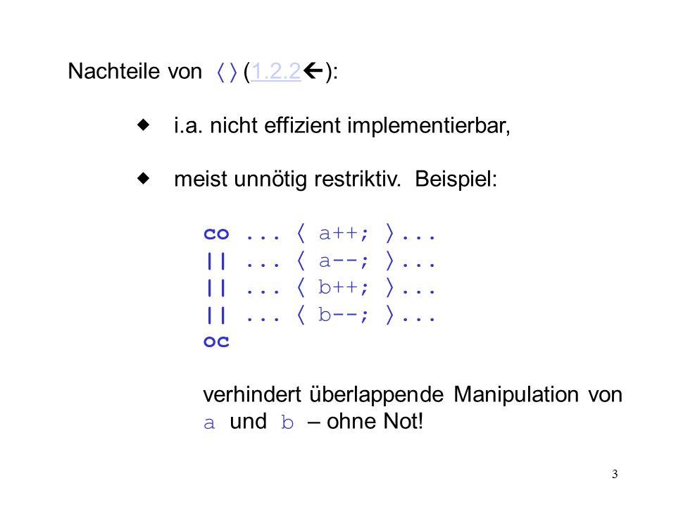 3 Nachteile von  (1.2.2  ):1.2.2  i.a. nicht effizient implementierbar,  meist unnötig restriktiv. Beispiel: co...  a++; ... ||...  a--;