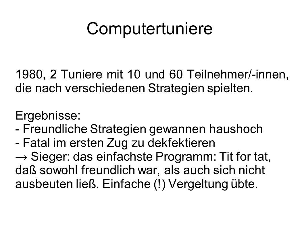 Computertuniere 1980, 2 Tuniere mit 10 und 60 Teilnehmer/-innen, die nach verschiedenen Strategien spielten. Ergebnisse: - Freundliche Strategien gewa