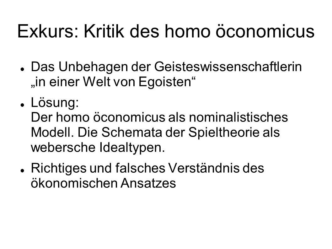 """Exkurs: Kritik des homo öconomicus Das Unbehagen der Geisteswissenschaftlerin """"in einer Welt von Egoisten Lösung: Der homo öconomicus als nominalistisches Modell."""