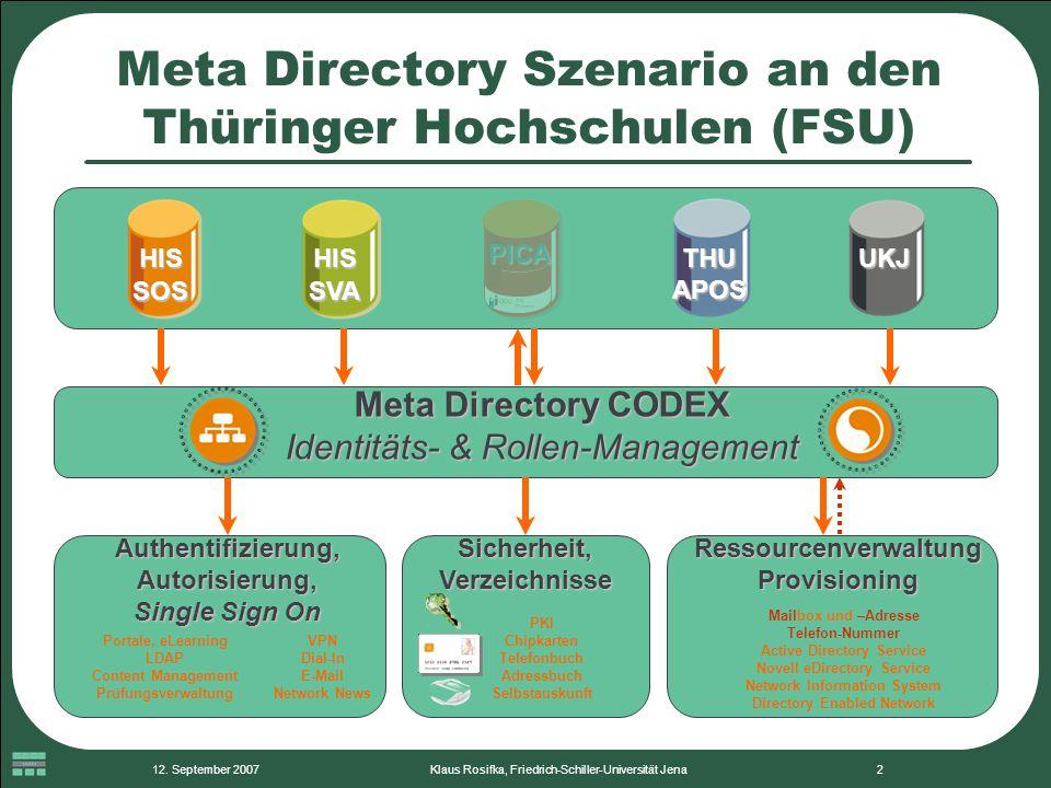 12. September 2007Klaus Rosifka, Friedrich-Schiller-Universität Jena2 Meta Directory Szenario an den Thüringer Hochschulen (FSU) Authentifizierung, Au