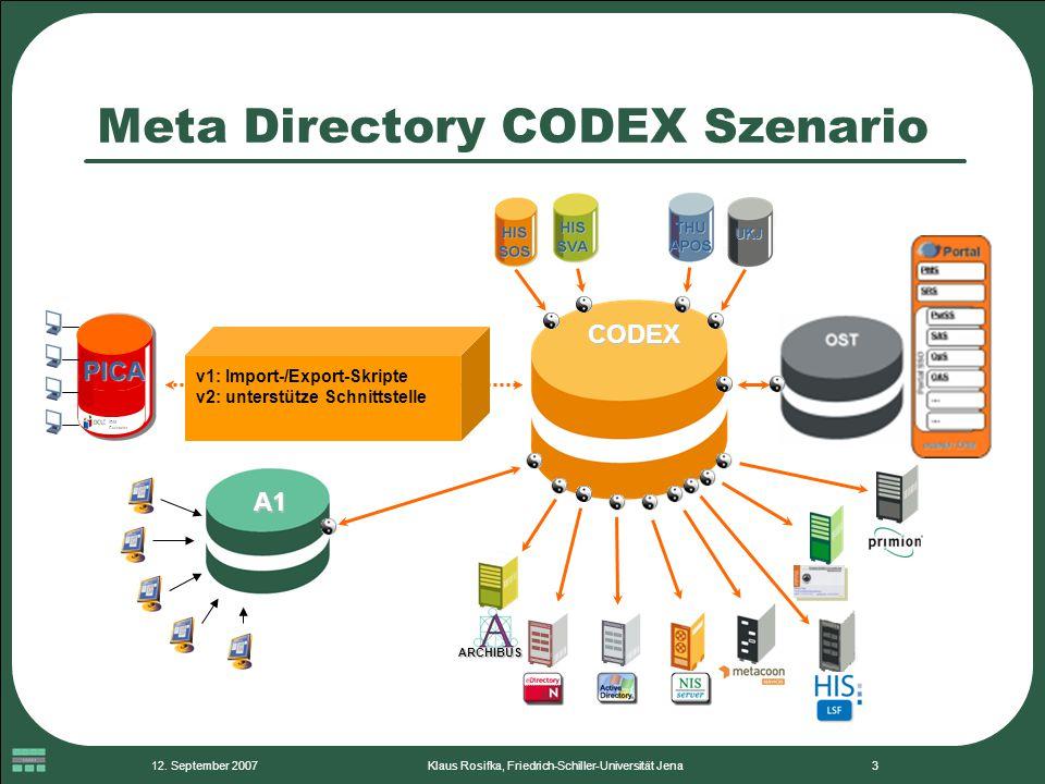 12. September 2007Klaus Rosifka, Friedrich-Schiller-Universität Jena3 Meta Directory CODEX Szenario CODEX UKJ ARCHIBUS A1 v1: Import-/Export-Skripte v