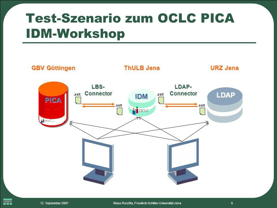 12. September 2007Klaus Rosifka, Friedrich-Schiller-Universität Jena5 Test-Szenario zum OCLC PICA IDM-Workshop IDM LDAP IDM Connector PICA LBS- Connec