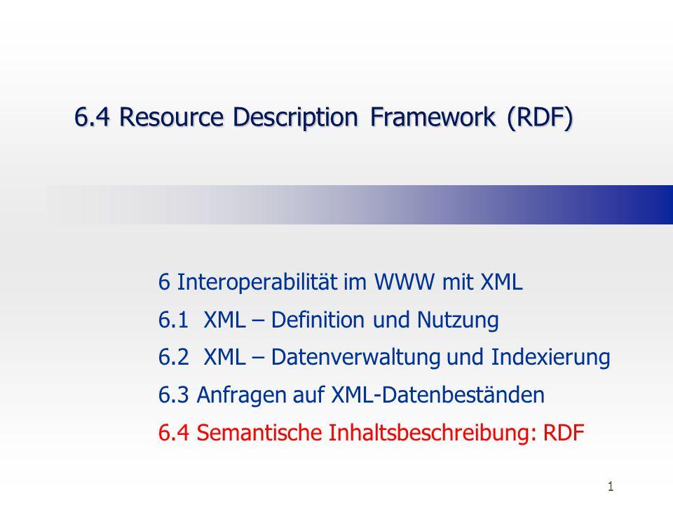 1 6.4 Resource Description Framework (RDF) 6 Interoperabilität im WWW mit XML 6.1 XML – Definition und Nutzung 6.2 XML – Datenverwaltung und Indexieru