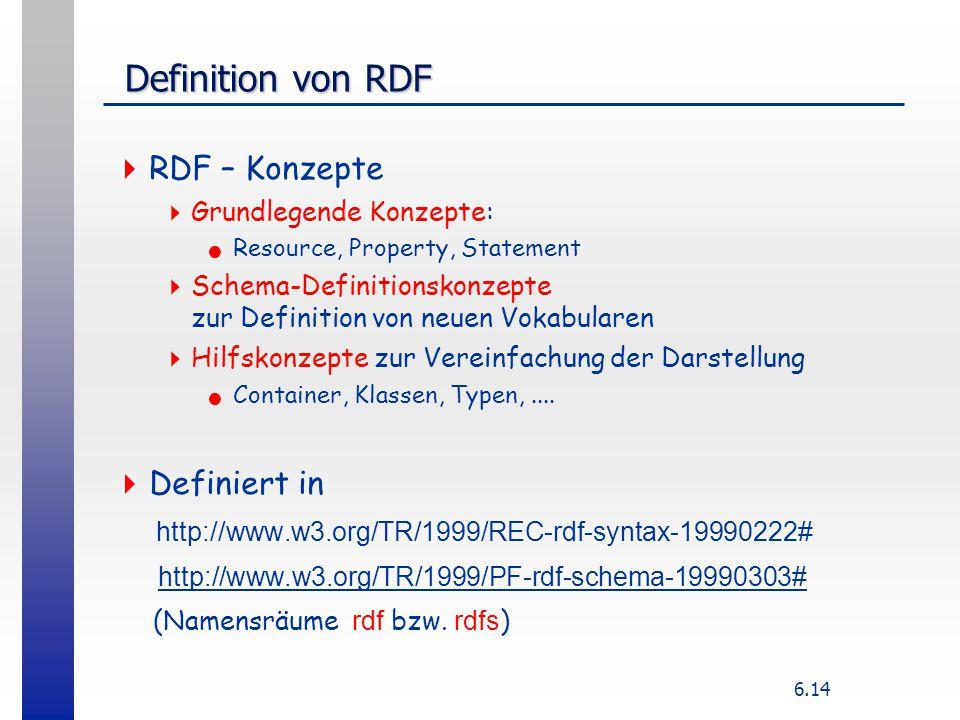 6.14 Definition von RDF Definition von RDF  RDF – Konzepte  Grundlegende Konzepte: Resource, Property, Statement  Schema-Definitionskonzepte zur De