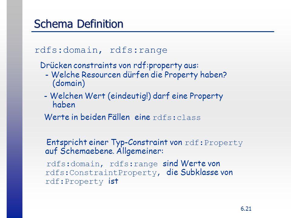6.21 Schema Definition rdfs:domain, rdfs:range Drücken constraints von rdf:property aus: - Welche Resourcen dürfen die Property haben? (domain) - Welc
