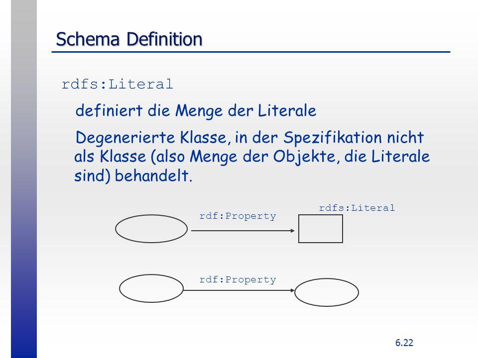 6.22 Schema Definition rdfs:Literal definiert die Menge der Literale Degenerierte Klasse, in der Spezifikation nicht als Klasse (also Menge der Objekt
