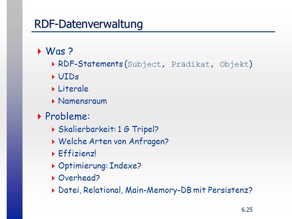 6.25 RDF-Datenverwaltung  Was ?  RDF-Statements ( Subject, Prädikat, Objekt )  UIDs  Literale  Namensraum  Probleme:  Skalierbarkeit: 1 G Tripe