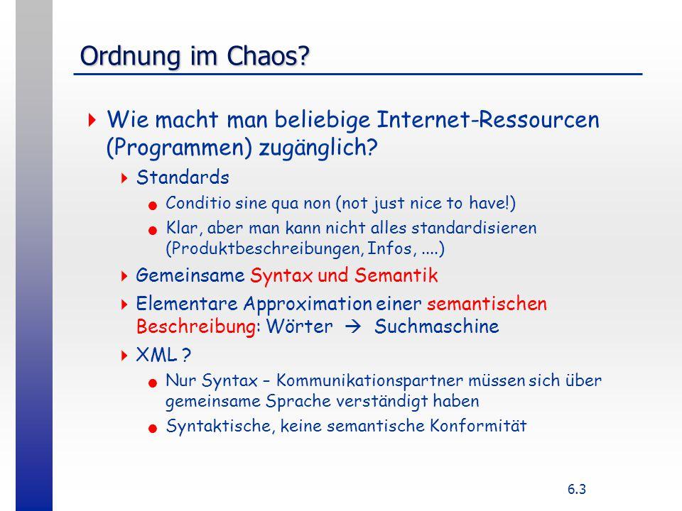 6.3 Ordnung im Chaos?  Wie macht man beliebige Internet-Ressourcen (Programmen) zugänglich?  Standards Conditio sine qua non (not just nice to have!
