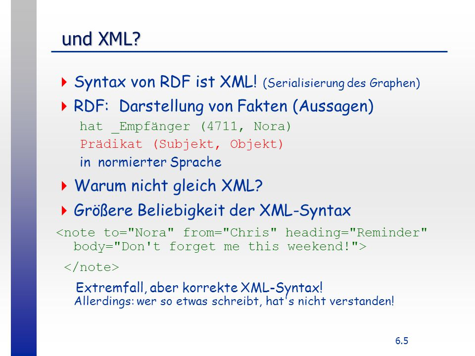 6.5 und XML? und XML?  Syntax von RDF ist XML! (Serialisierung des Graphen)  RDF: Darstellung von Fakten (Aussagen) hat _Empfänger (4711, Nora) Präd