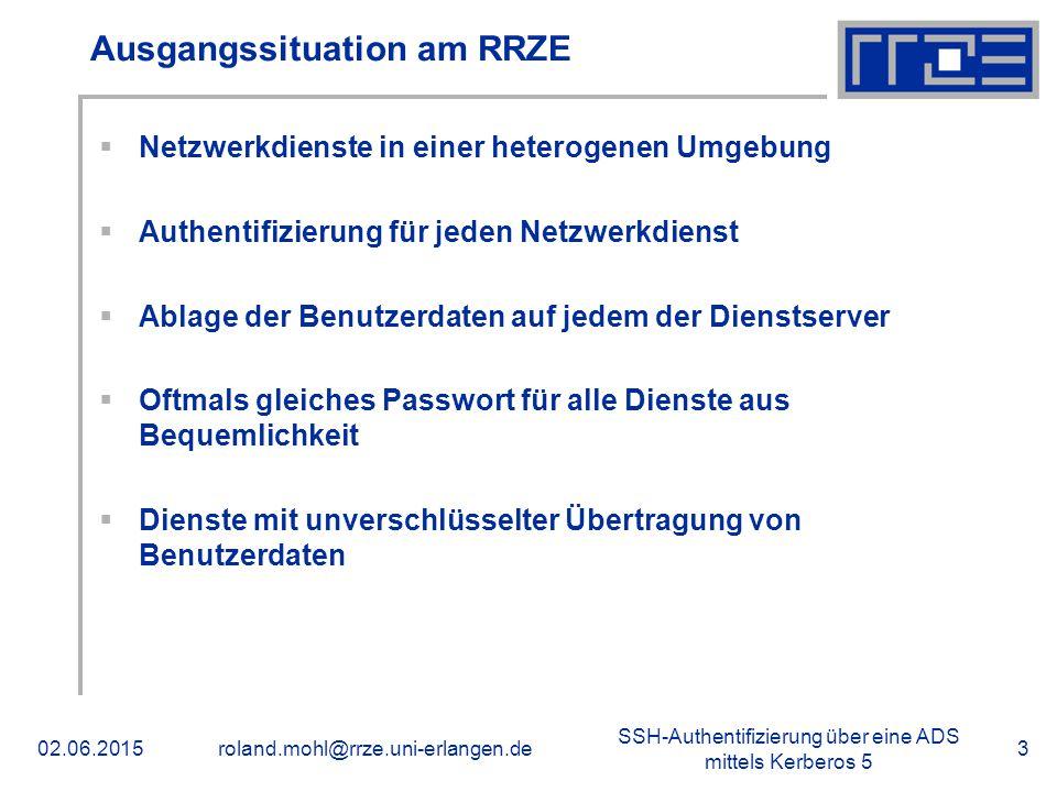 SSH-Authentifizierung über eine ADS mittels Kerberos 5 02.06.2015roland.mohl@rrze.uni-erlangen.de3 Ausgangssituation am RRZE  Netzwerkdienste in eine