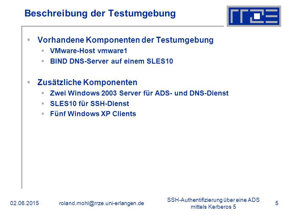 SSH-Authentifizierung über eine ADS mittels Kerberos 5 02.06.2015roland.mohl@rrze.uni-erlangen.de5 Beschreibung der Testumgebung  Vorhandene Komponen