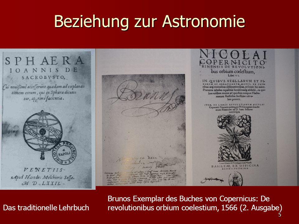 5 Beziehung zur Astronomie Das traditionelle Lehrbuch Brunos Exemplar des Buches von Copernicus: De revolutionibus orbium coelestium, 1566 (2. Ausgabe