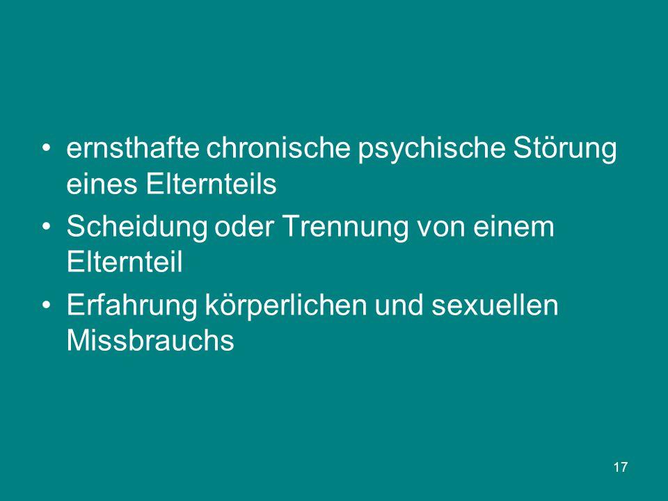 17 ernsthafte chronische psychische Störung eines Elternteils Scheidung oder Trennung von einem Elternteil Erfahrung körperlichen und sexuellen Missbr