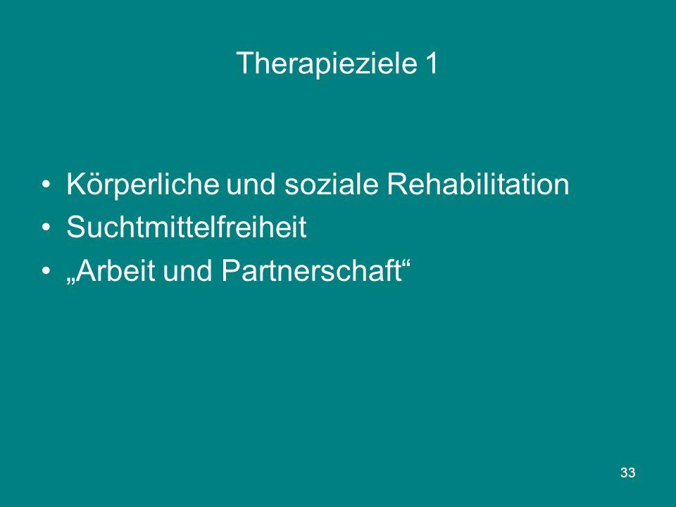 """33 Therapieziele 1 Körperliche und soziale Rehabilitation Suchtmittelfreiheit """"Arbeit und Partnerschaft"""""""