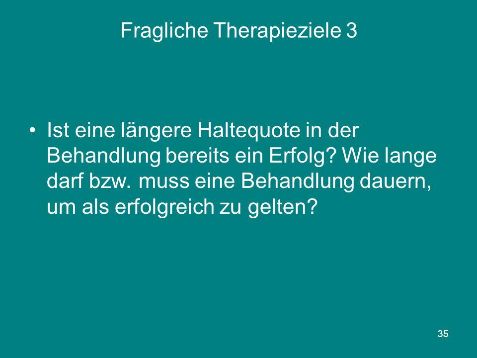 35 Fragliche Therapieziele 3 Ist eine längere Haltequote in der Behandlung bereits ein Erfolg? Wie lange darf bzw. muss eine Behandlung dauern, um als