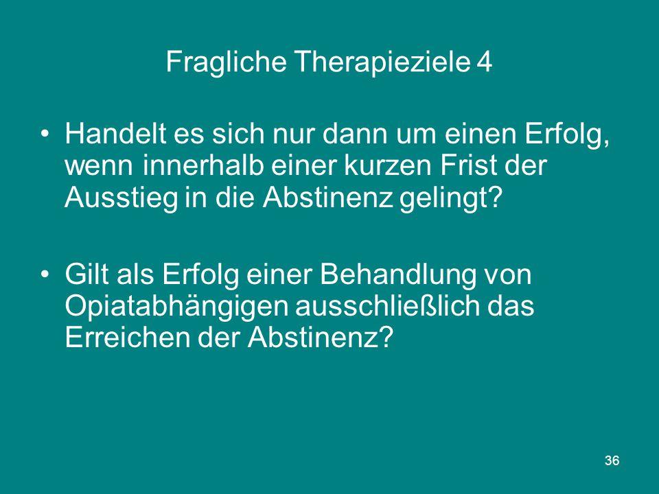 36 Fragliche Therapieziele 4 Handelt es sich nur dann um einen Erfolg, wenn innerhalb einer kurzen Frist der Ausstieg in die Abstinenz gelingt? Gilt a