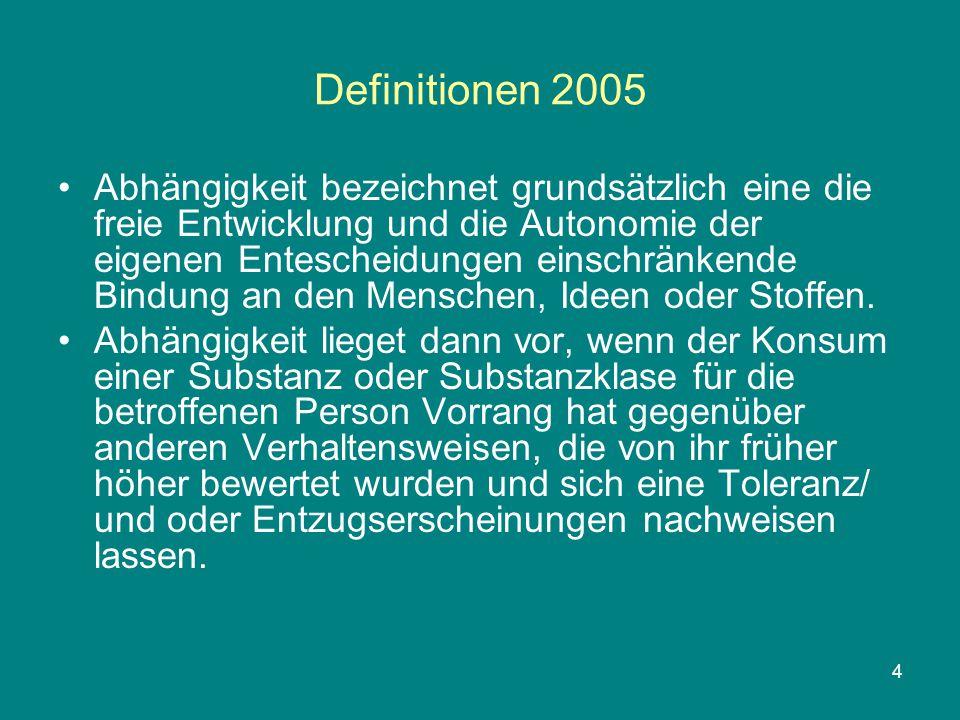 """5 Definitionen 2005 In der Folge verwenden internationale diagnostische Klassifikationssysteme wie der ICD-10 (International Classification of Diseases) und das DSM IV (Diagnostisches und Statistitsches Manual psychischer Störungen) nur noch die Begriffe """"Abhängigkeit , """"Missbrauch und """"schädlicher Gebrauch ."""