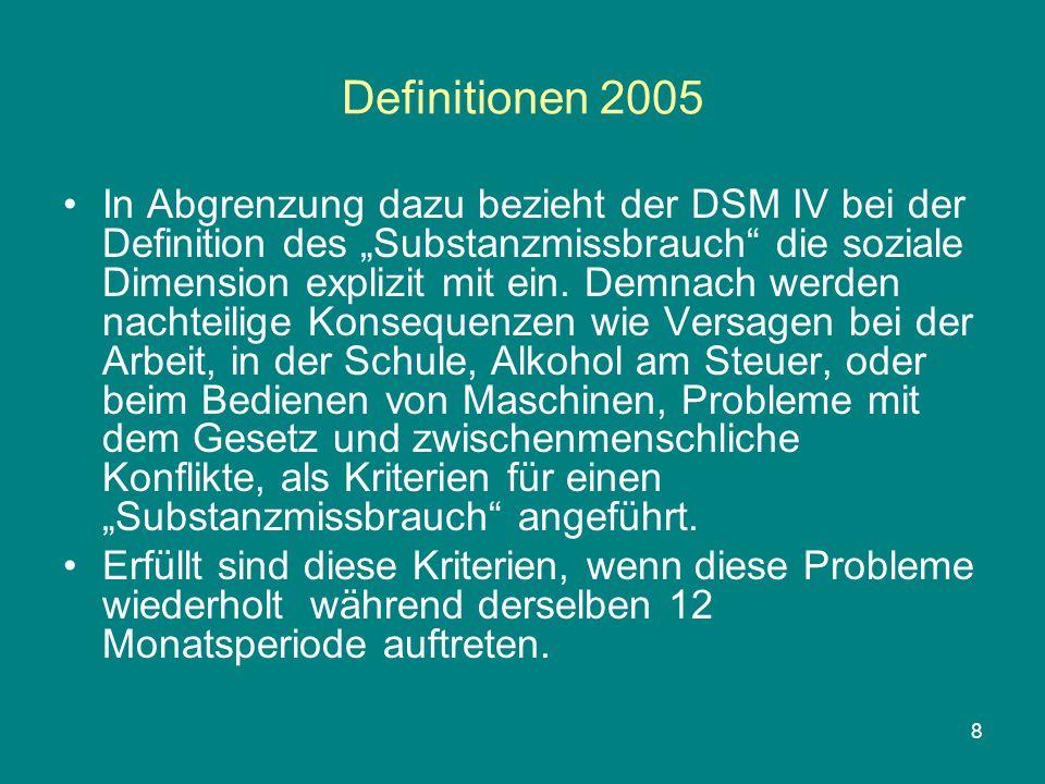 """8 Definitionen 2005 In Abgrenzung dazu bezieht der DSM IV bei der Definition des """"Substanzmissbrauch"""" die soziale Dimension explizit mit ein. Demnach"""