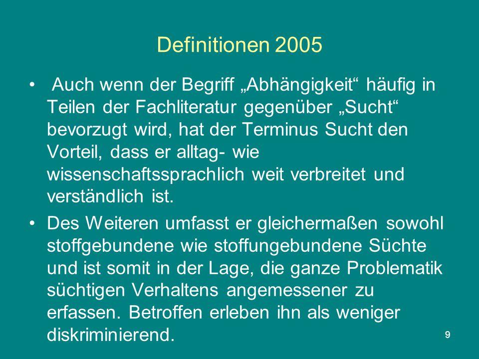 """9 Definitionen 2005 Auch wenn der Begriff """"Abhängigkeit"""" häufig in Teilen der Fachliteratur gegenüber """"Sucht"""" bevorzugt wird, hat der Terminus Sucht d"""