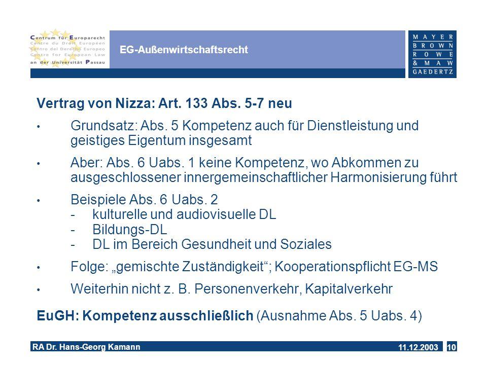 11.12.2003 RA Dr.Hans-Georg Kamann 10 EG-Außenwirtschaftsrecht Vertrag von Nizza: Art.