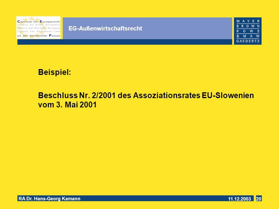 11.12.2003 RA Dr.Hans-Georg Kamann 20 EG-Außenwirtschaftsrecht Beispiel: Beschluss Nr.
