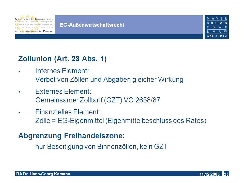 11.12.2003 RA Dr.Hans-Georg Kamann 23 EG-Außenwirtschaftsrecht Zollunion (Art.