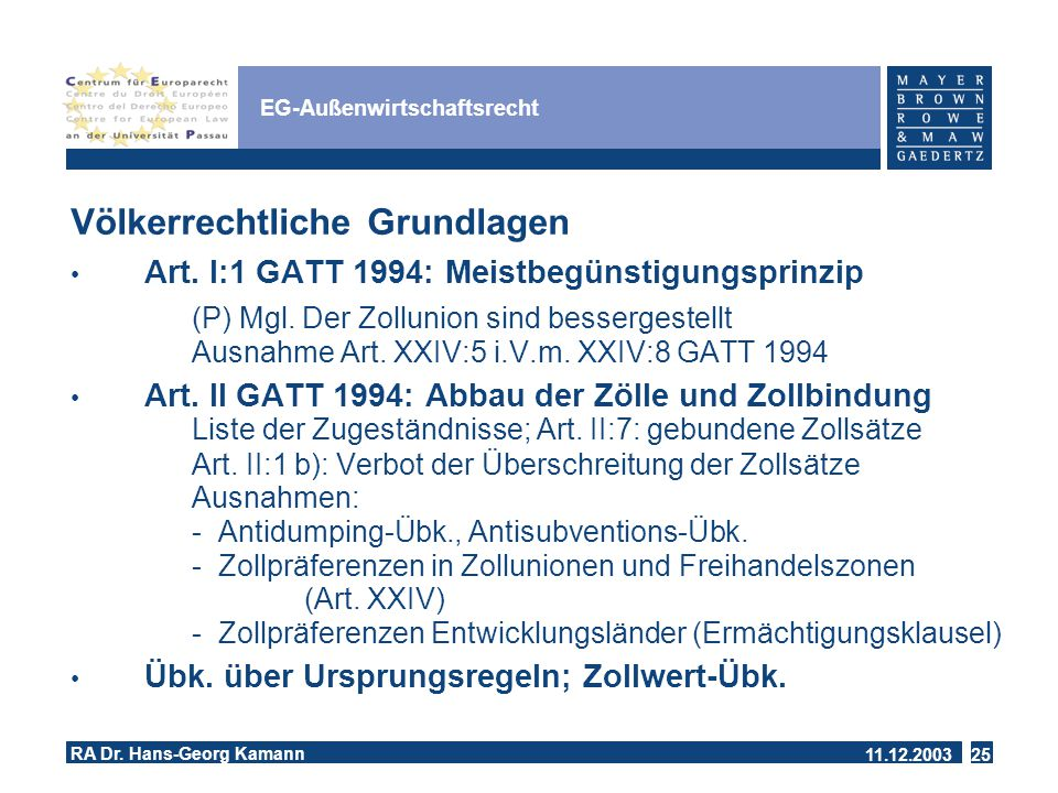 11.12.2003 RA Dr.Hans-Georg Kamann 25 EG-Außenwirtschaftsrecht Völkerrechtliche Grundlagen Art.