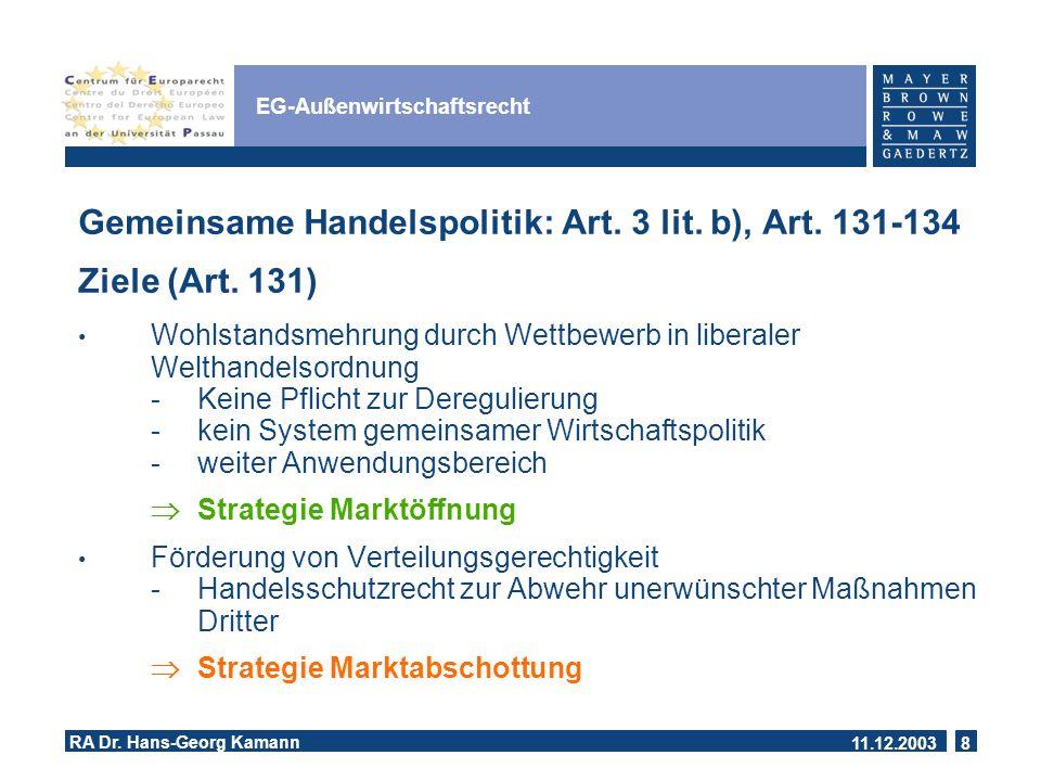 11.12.2003 RA Dr.Hans-Georg Kamann 8 EG-Außenwirtschaftsrecht Gemeinsame Handelspolitik: Art.