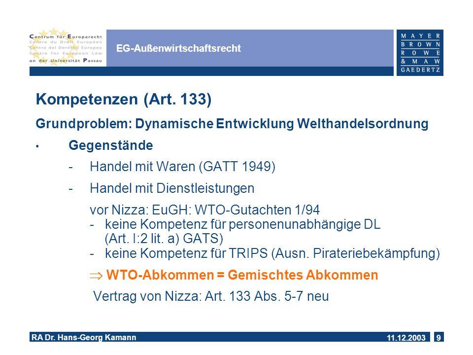 11.12.2003 RA Dr.Hans-Georg Kamann 9 EG-Außenwirtschaftsrecht Kompetenzen (Art.
