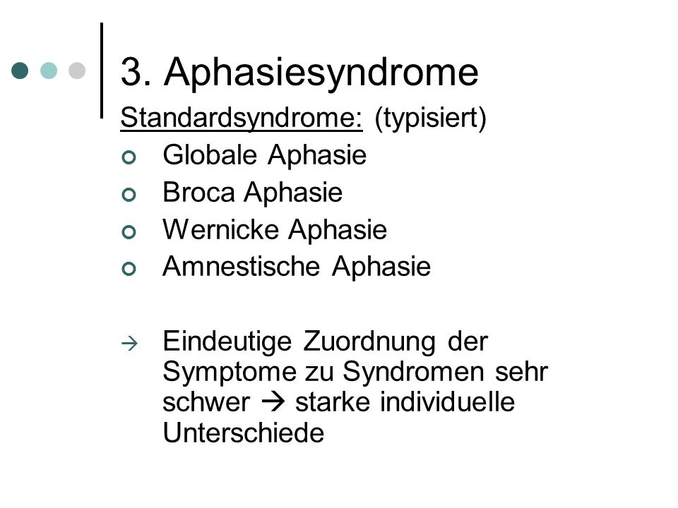 """3. Aphasie Aphasie Aus dem Griechischen: """"Sprachlosigkeit"""" Ursache einer Aphasie ist eine Schädigung des Gehirns Sprachliche Leistung der Betroffenen"""