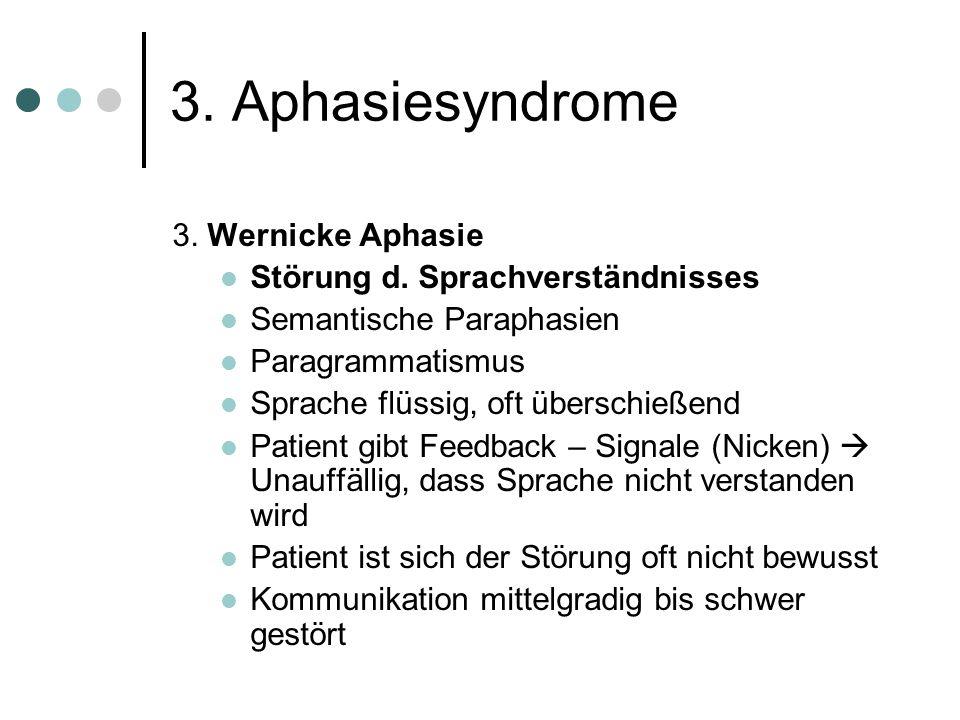 3.Aphasiesyndrome 2. Broca Aphasie Sprachproduktion gestört.