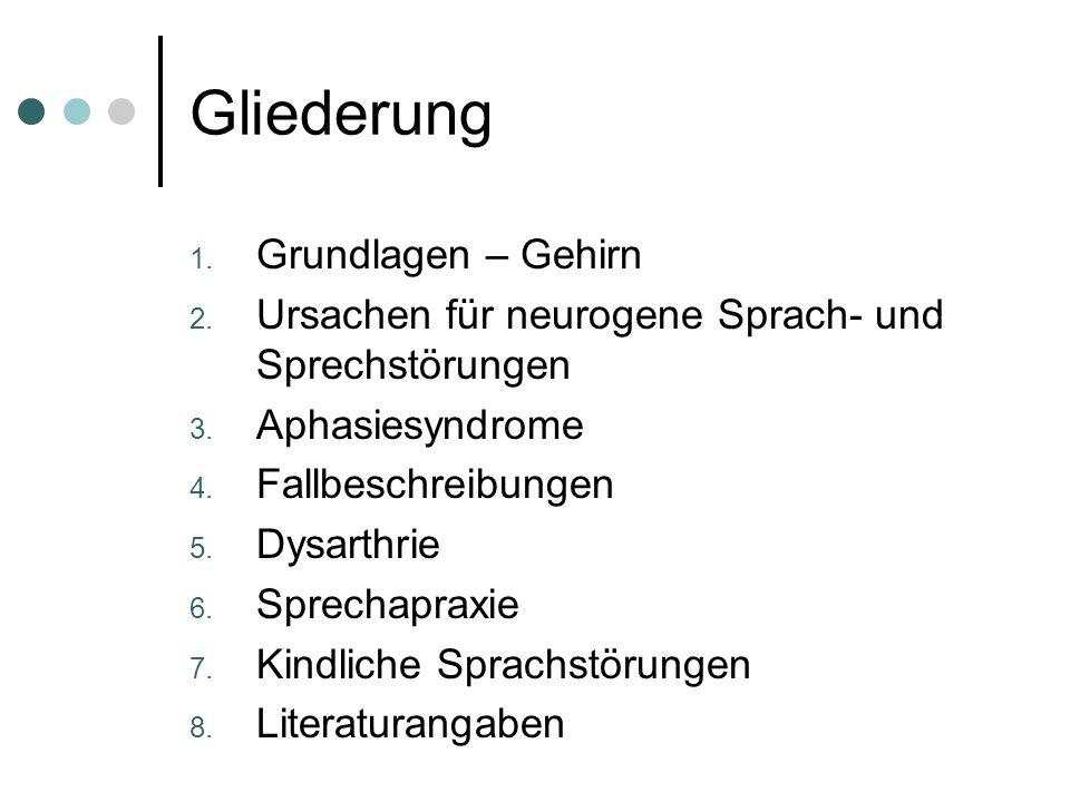 Neurogene Sprach- und Sprechstörungen Referentinnen: Kristina Jung Friederike von Lehmden 24.01.2005