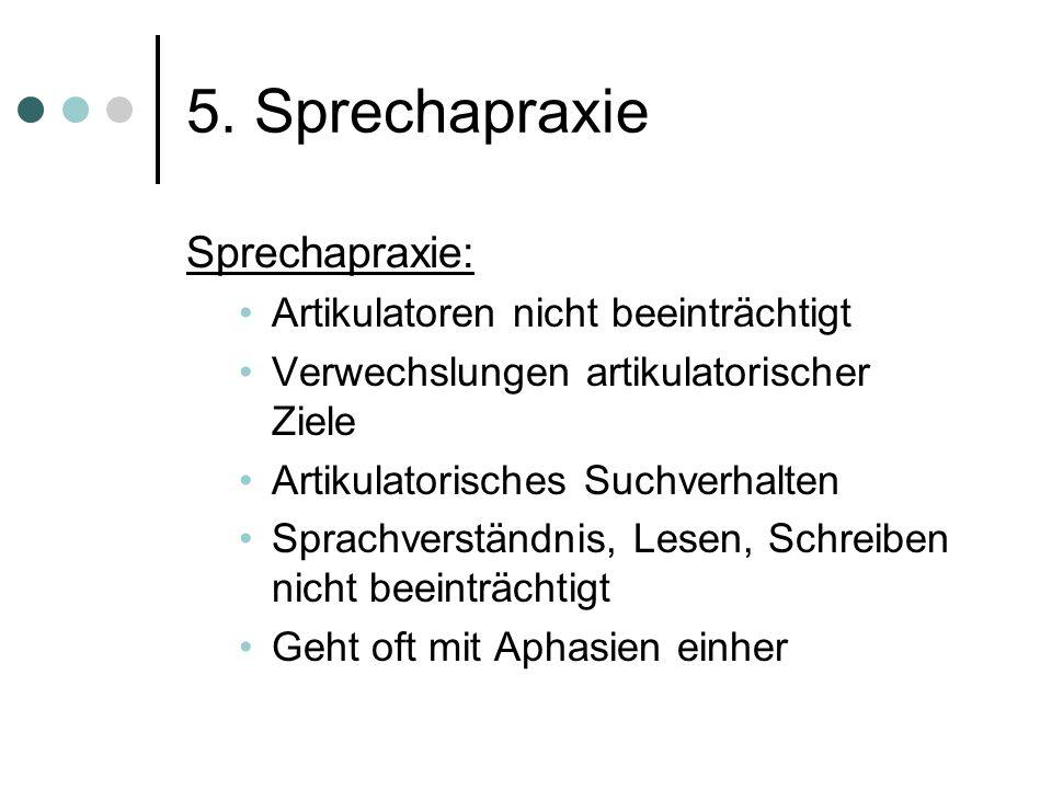 5. Sprechapraxie Apraxie: Unfähigkeit sinnvolle und zweckgerichtete Bewegungen auszuführen, trotz erhaltener Funktionstüchtigkeit des Bewegungsapparat