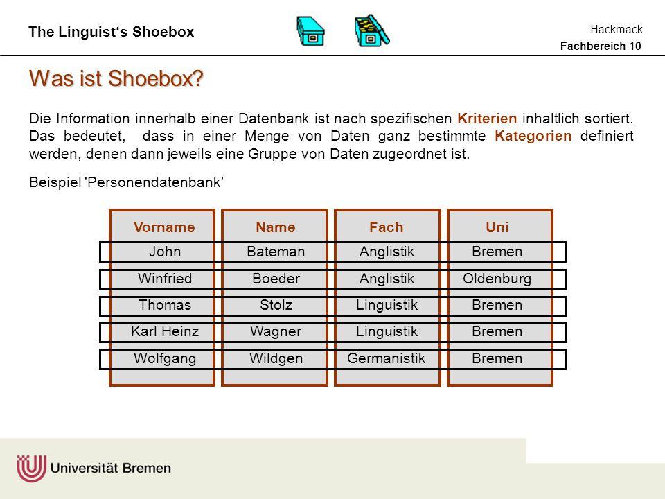Fachbereich 10 Hackmack The Linguist's Shoebox Beispiel Mini-Lexikon Was ist Shoebox.