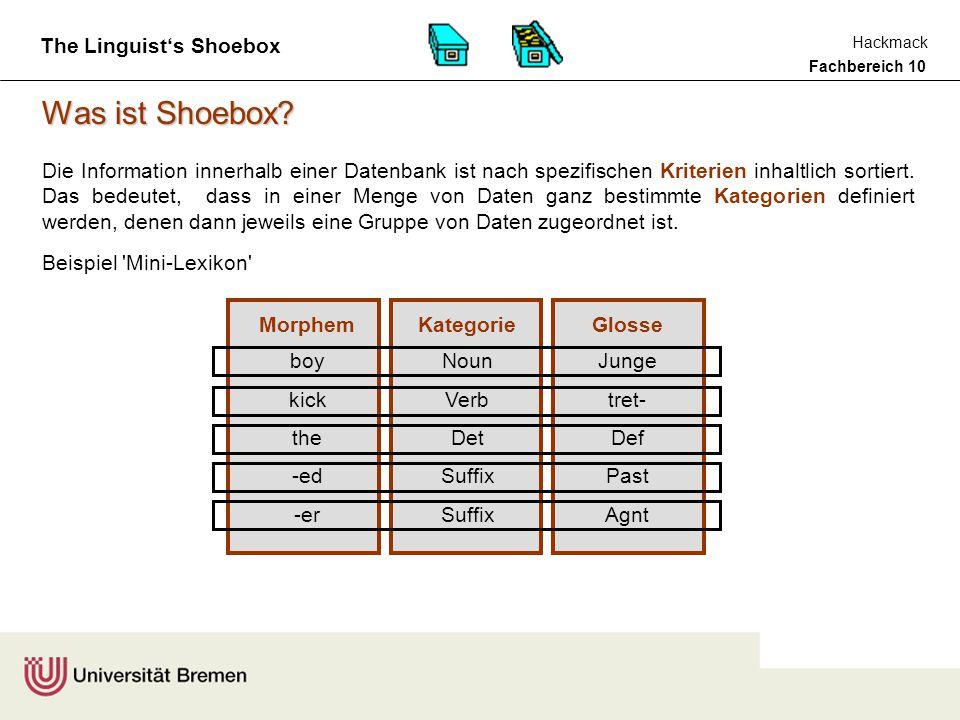Fachbereich 10 Hackmack The Linguist's Shoebox theboylove-sthedog detnvsuffdetn Defjungelieb-3.P.SgDefhund theboy-slovethedog detnsuffvdetn DefjungePllieb-Defhund Besonders interessant für Linguisten ist die Möglichkeit, einen Text auf der Basis einer Lexikondatenbank morphologisch zu parsen und automatisch eine INTERLINEARVERSION dieses Textes erzeugen zu lassen boy (n) junge dog (n) hund love (v) lieb- the (det) Def -s (suff) Pl -s (suff) 3.P.Sg LEXIKONDATENBANK the boy loves the dog.