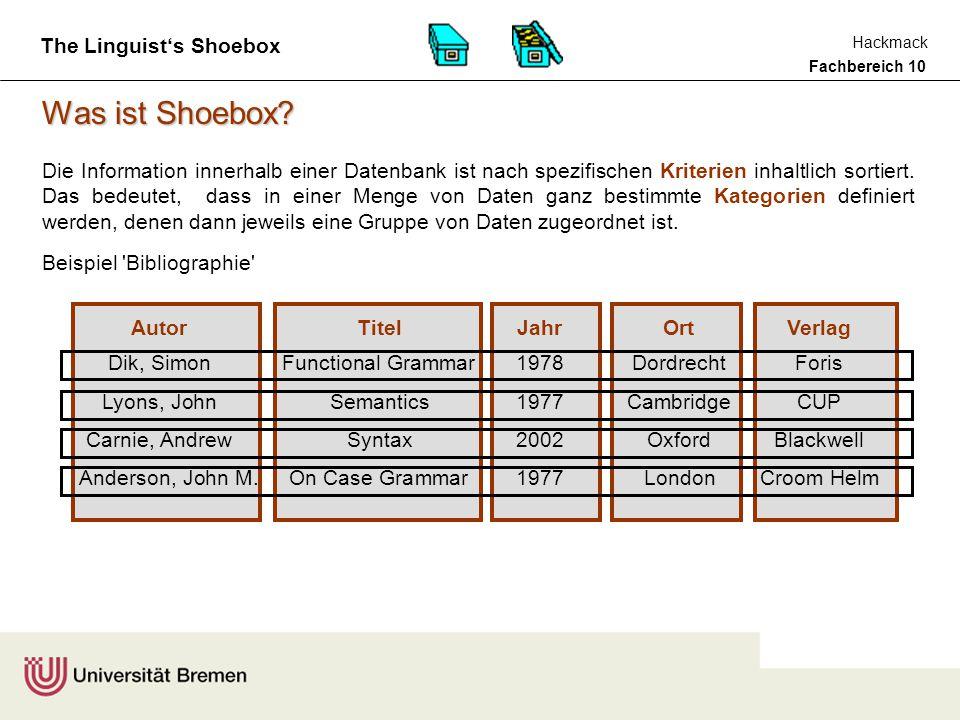 Fachbereich 10 Hackmack The Linguist's Shoebox Beispiel Bibliographie Was ist Shoebox.
