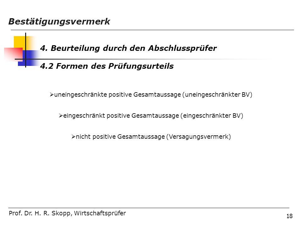 18 Prof. Dr. H. R. Skopp, Wirtschaftsprüfer Bestätigungsvermerk 4. Beurteilung durch den Abschlussprüfer 4.2 Formen des Prüfungsurteils  uneingeschrä