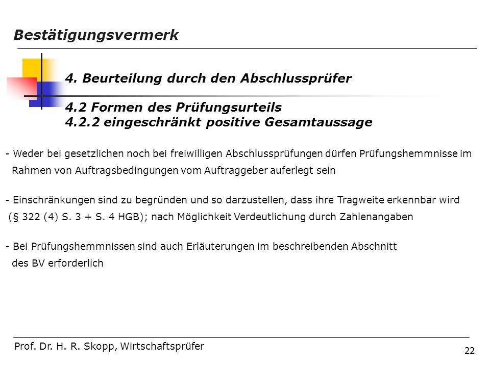 22 Prof. Dr. H. R. Skopp, Wirtschaftsprüfer Bestätigungsvermerk 4. Beurteilung durch den Abschlussprüfer 4.2 Formen des Prüfungsurteils 4.2.2 eingesch