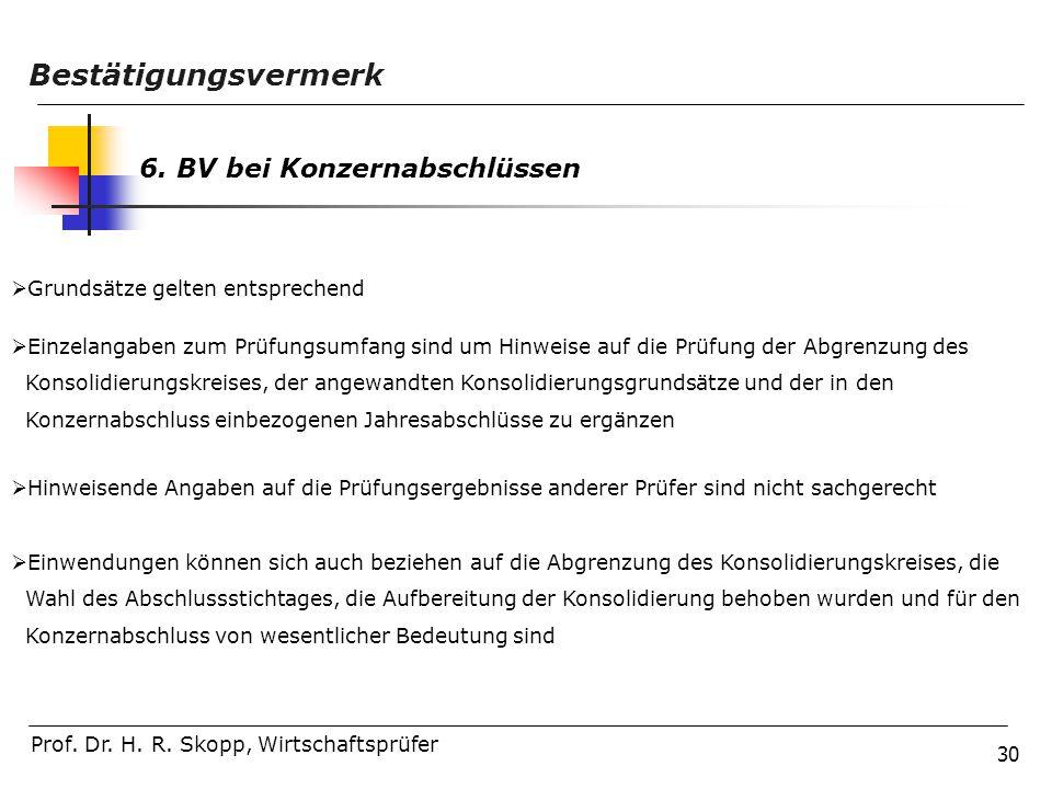 30 Prof. Dr. H. R. Skopp, Wirtschaftsprüfer Bestätigungsvermerk 6. BV bei Konzernabschlüssen  Grundsätze gelten entsprechend  Einzelangaben zum Prüf