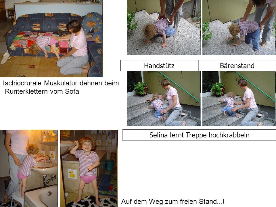 Ischiocrurale Muskulatur dehnen beim Runterklettern vom Sofa HandstützBärenstand Selina lernt Treppe hochkrabbeln Auf dem Weg zum freien Stand...!