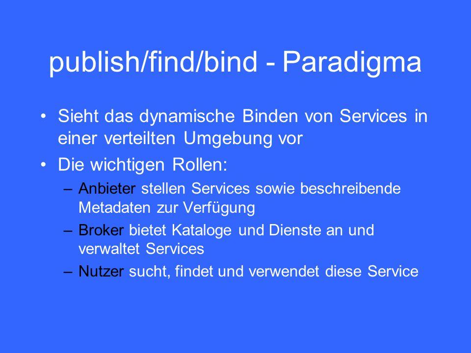 publish/find/bind - Paradigma Sieht das dynamische Binden von Services in einer verteilten Umgebung vor Die wichtigen Rollen: –Anbieter stellen Services sowie beschreibende Metadaten zur Verfügung –Broker bietet Kataloge und Dienste an und verwaltet Services –Nutzer sucht, findet und verwendet diese Service