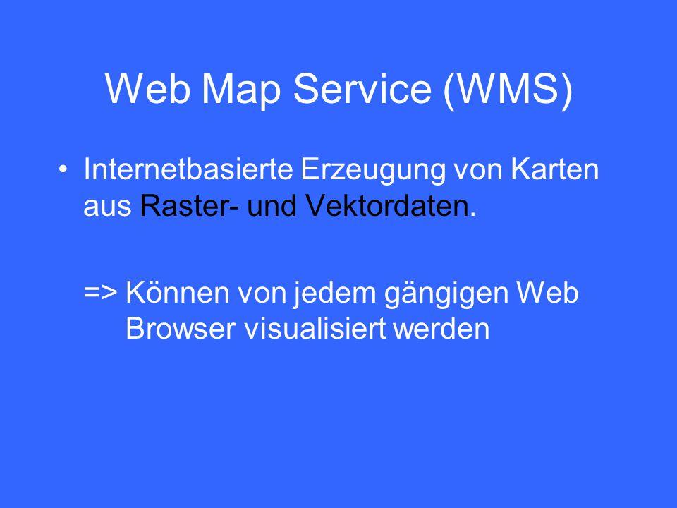 Web Map Service (WMS) Internetbasierte Erzeugung von Karten aus Raster- und Vektordaten. =>Können von jedem gängigen Web Browser visualisiert werden