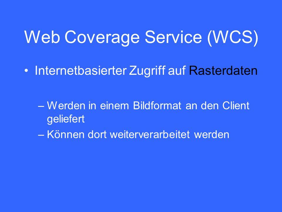 Web Coverage Service (WCS) Internetbasierter Zugriff auf Rasterdaten –Werden in einem Bildformat an den Client geliefert –Können dort weiterverarbeitet werden