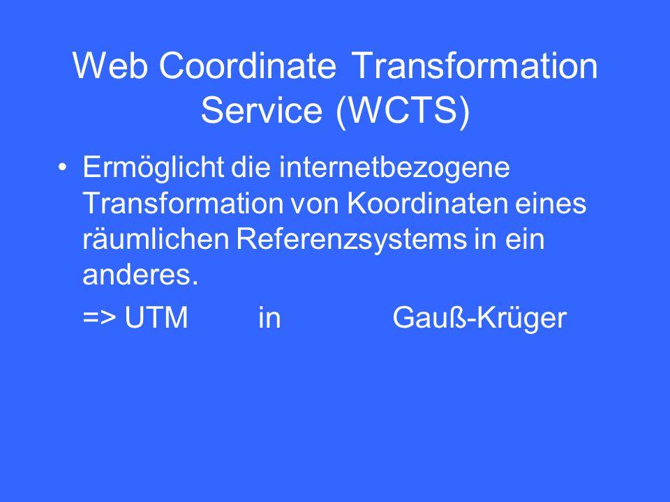 Web Coordinate Transformation Service (WCTS) Ermöglicht die internetbezogene Transformation von Koordinaten eines räumlichen Referenzsystems in ein anderes.