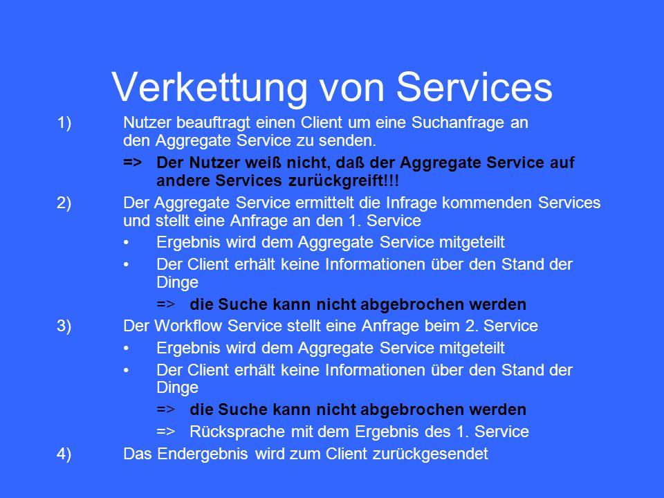 Verkettung von Services 1)Nutzer beauftragt einen Client um eine Suchanfrage an den Aggregate Service zu senden. =>Der Nutzer weiß nicht, daß der Aggr