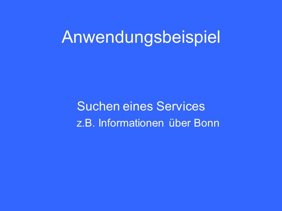 Anwendungsbeispiel Suchen eines Services z.B. Informationen über Bonn