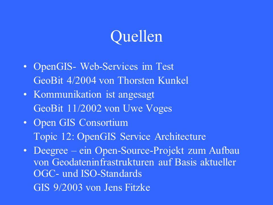 Quellen OpenGIS- Web-Services im Test GeoBit 4/2004 von Thorsten Kunkel Kommunikation ist angesagt GeoBit 11/2002 von Uwe Voges Open GIS Consortium Topic 12: OpenGIS Service Architecture Deegree – ein Open-Source-Projekt zum Aufbau von Geodateninfrastrukturen auf Basis aktueller OGC- und ISO-Standards GIS 9/2003 von Jens Fitzke