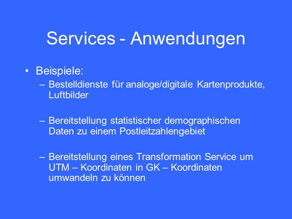 Services - Anwendungen Beispiele: –Bestelldienste für analoge/digitale Kartenprodukte, Luftbilder –Bereitstellung statistischer demographischen Daten zu einem Postleitzahlengebiet –Bereitstellung eines Transformation Service um UTM – Koordinaten in GK – Koordinaten umwandeln zu können