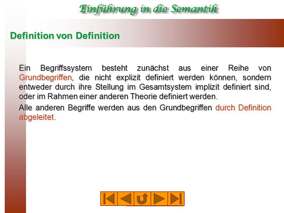 Definition von Definition Ein Begriffssystem besteht zunächst aus einer Reihe von Grundbegriffen, die nicht explizit definiert werden können, sondern entweder durch ihre Stellung im Gesamtsystem implizit definiert sind, oder im Rahmen einer anderen Theorie definiert werden.